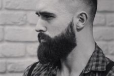 02 a low disconnected cut with very short sides and a beard is a perfect idea for hipsters