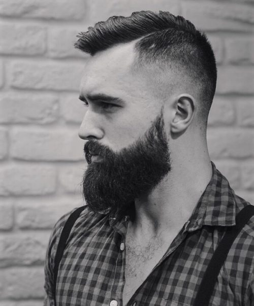 a low disconnected cut with very short sides and a beard is a perfect idea for hipsters