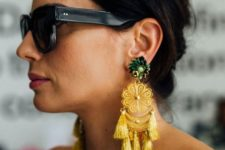 02 bright boho earrings with emerald rhinestones and yellow lace and tassels plus beads
