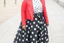 a polka dot shirt, a polka dot midi skirt, striped mules and a red leather jacket