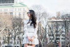 03 a white lace ruffle short dress, white booties and a nude bag for a girlish look