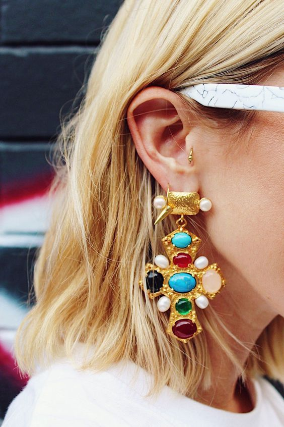 maximalism trend at its best in these colorful gem cross earrings