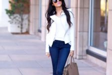 03 navy cuffed skinnies, a white tee, a white moto jacket, nude heels and a blush bag