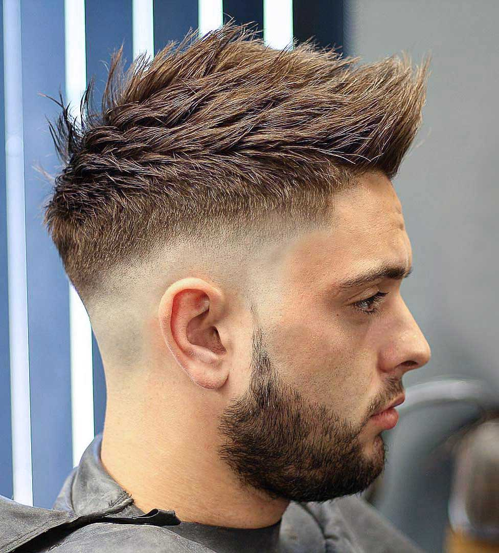 a skin sharp fade faux hawk works well with pointy hair and gives a modern masculine look