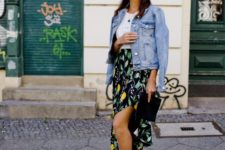 a trendy spring outfit with a floral skirt