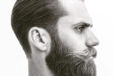 04 a tapered slicked back haircut with a full beard is a popular hipster cut, don't forget a beard with mustache