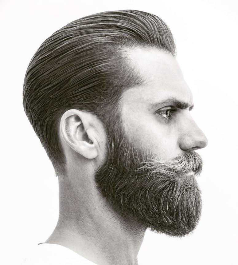 a tapered slicked back haircut with a full beard is a popular hipster cut, don't forget a beard with mustache