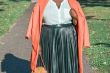 04 a white shirt, a dark green pleated midi leather skirt, leopard shoes and a coral coat