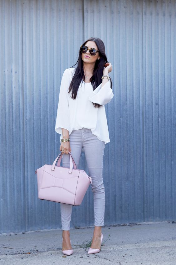 grey skinnies, a white tee, a white blazer, nude shoes and a light medium-sized pink bag