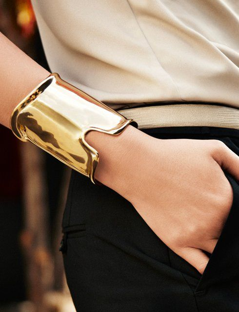 a modern statement bracelet can be worn to work, too