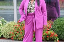 06 a neon pink pantsuit, a leopard shirt, metallic shoes and statement earrings for ladies who love bright and bold