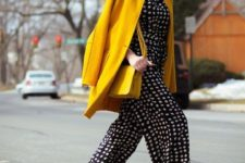 06 a polka dot print cropped jumpsuit, a short yellow coat and matching mules