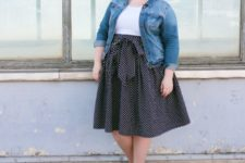06 a simple and casual look with a white tee, a polka dot A-line skirt, a denim jacket and red shoes