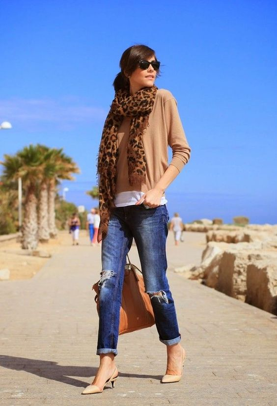 wrapped jeans, a white tee, a camel top, nude kitten heels