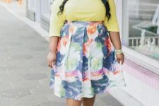 07 a girlish look with a yellow long sleeve top, a floral midi skirt, yellow heels with lacing