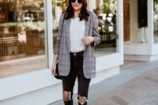 07 a grey checked blazer, a neutral tee, black ripped jeans, snaked print pointed shoes
