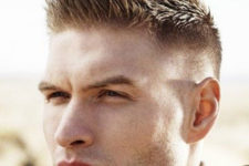 08 a brush cut with fade features much texture and length than the previous options and looks edgy