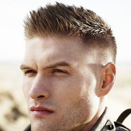 a brush cut with fade features much texture and length than the previous options and looks edgy