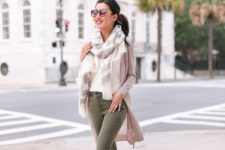 08 olive jeans, a white tee, a striped scarf, a nude cardigan and creamy shoes