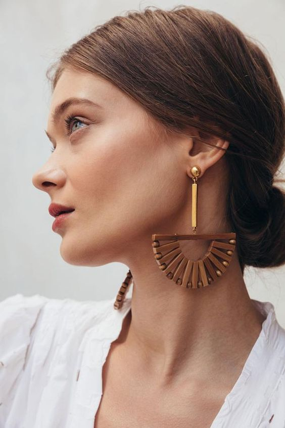 statement wood and bead earrings with a catchy boho design for special occasions