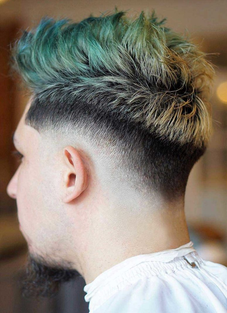 a dyed drop fade faux hawk is a bold idea for those who dare