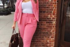 a cute summer plus size work outfit in a pansuit