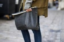 09 a soft grey oversized clutch is a cool idea to rock this spring