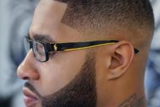 09 waves and a low blurry fade is a stylish haircut to try, and a beard is perfectly shaped