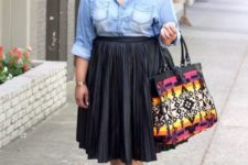 10 a chambray shirt, a black pleated midi skirt, lace up shoes and a colorful bag