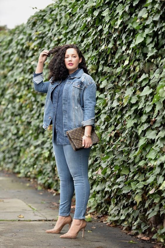 a full denim look with a chambray shirt, a denim jacket, skinnies, nude shoes and a printed clutch