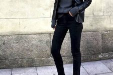 10 a total black look with a turtleneck sweater, a black leather jacket, black jeans and black pointed shoes