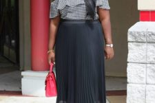 11 a chic date look with a black pleated midi, a checked off the shoulder top, black heels and a red bag