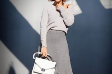 11 a girlish grey look for spring with a grey long sleeve top, a grey A-line skirt, a whiet bag and trainers
