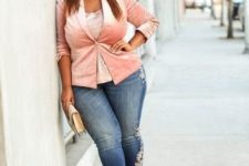 11 a girlish look with blue jeans with floral embroidery, a lace top, a blush velvet blazer and a clutch