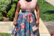 12 a floral midi skirt, a blush lace sleeveless top, blush shoes and a little clutch for a party