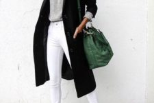 12 a grey long sleeve, white jeans, white sneakers, a black coat and a green bucket bag