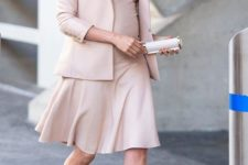 12 a soft blush beige outfit with a dress and a blazer by Meghan Markle