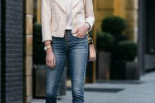 12 a white top, a neutral blazer, blue skinnies and nude heeled sandals