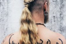 12 long hair with shaved sides, a braid and a long ponytail for a wild look