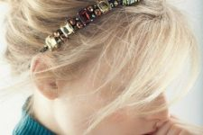 13 a bright jeweled headband with shine rhinestones will make your look refined