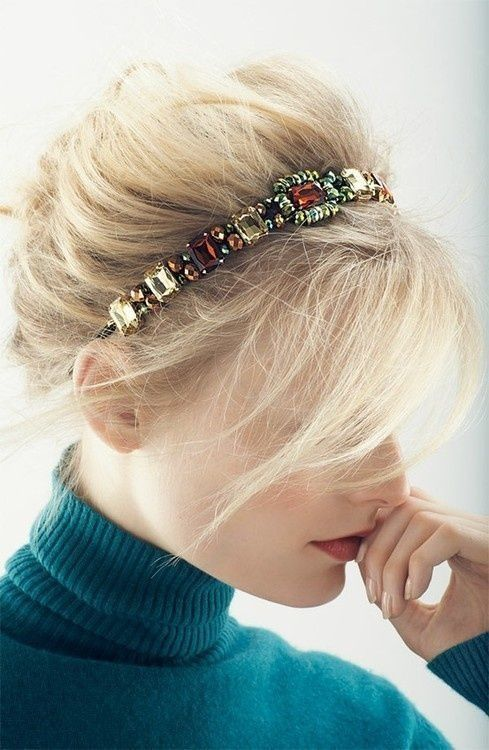 a bright jeweled headband with shine rhinestones will make your look refined