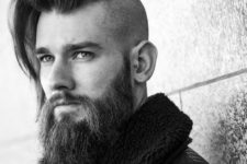 13 a long straight haircut with a disconnection and a beard is a very catchy masculine idea