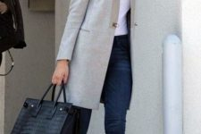13 a relaxed office look with navy skinnies, a white tee, a grey coat, grey sneakers and a black crocodile leather bag