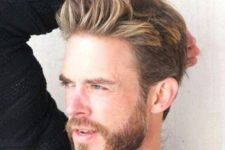 13 a trendy short haircut with blonde highlights and a beard is a chic idea to rock