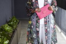 13 a white top, skinnies, brigth green shoes, a sheer floral duster and a pink clutch