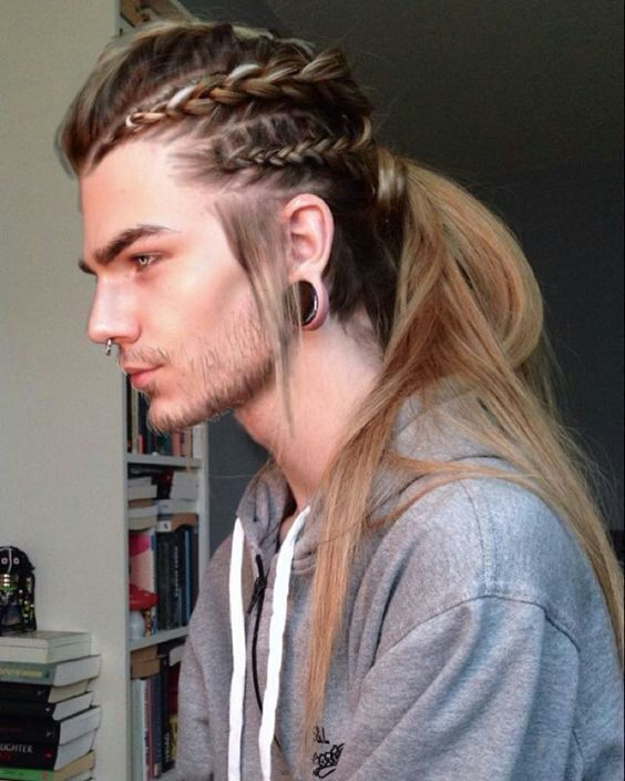 make several braids and a long ponytail of your long and straight hair