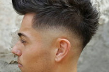 14 a long faux hawk with fade and curved hair is a trendy idea with much volume