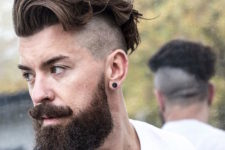 a hipster look with an undercut and a beard