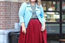 14 a red midi skirt, a leopard top, metallic boots and a blue jacket for spring