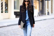 14 a simple spring outfit with jeans and a chambray shirt, a black blazer and black heeled sandals